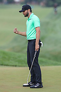 Bethesda, MD - July 2, 2017: Kyle Stanley pumps his fist after winning the final round of professional play at the Quicken Loans National Tournament at TPC Potomac  in Bethesda, MD, July 2, 2017.  (Photo by Elliott Brown/Media Images International)