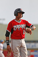 Carolina Mudcats infielder Johan Camargo (2)  during game one of a doubleheader against the Myrtle Beach Pelicans at Ticketreturn.com Field at Pelicans Ballpark on June 6, 2015 in Myrtle Beach, South Carolina. Carolina defeated Myrtle Beach 1-0. (Robert Gurganus/Four Seam Images)