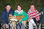 GREYHOUND: Eugene Costello (Ardfert), Marie Sheehy(Ballyduff) and William Costello(Ardfert) getting their greyhound Gullane Heights  ready for the Listowel Coursing in Abbeydorney on Saturday....................................................... ............................................................   Copyright Kerry's Eye 2008