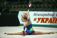 "Inna Zhukova of Belarus performs with rope at 2008 World Cup Kiev, ""Deriugina Cup"" in Kiev, Ukraine on March 23, 2008."