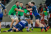 3rd January 2020; AJ Bell Stadium, Salford, Lancashire, England; English Premiership Rugby, Sale Sharks versus Harlequins; Semi Kunatani of Harlequins is tackled by Tom Curry of Sale Sharks - Editorial Use