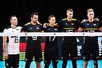 13.09.2019, Paleis 12, BrŸssel / Bruessel<br />Volleyball, Europameisterschaft, Deutschland (GER) vs. Serbien (SRB)<br /><br />Denys Kaliberda (#6 GER), Georg Grozer (#9 GER), Jan Zimmermann (#17 GER), Noah Baxpšhler / Baxpoehler (#15 GER), Anton Brehme (#12 GER) wŠhrend Hymne<br /><br />  Foto © nordphoto / Kurth