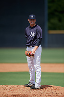 New York Yankees pitcher Jordan Foley (52) looks in for the sign during a Florida Instructional League game against the Pittsburgh Pirates on September 25, 2018 at Yankee Complex in Tampa, Florida.  (Mike Janes/Four Seam Images)