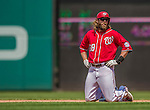 26 April 2014: Washington Nationals right fielder Jayson Werth stays at second as the play at second is being reviewed in the 5th inning against the San Diego Padres at Nationals Park in Washington, DC. The Nationals shut out the Padres 4-0 to take the third game of their 4-game series. Mandatory Credit: Ed Wolfstein Photo *** RAW (NEF) Image File Available ***