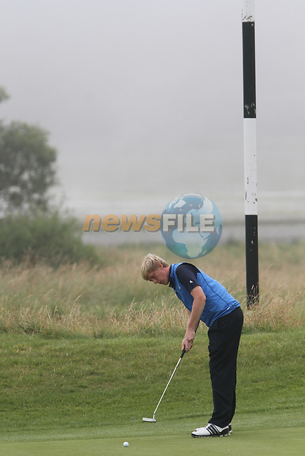 Jamie Savage (SCO) on the 3rd on the Final Day at the 2012 Boys Home Internationals at Co.Louth Golf Club in Baltray, Co.Louth...(Photo credit should read Jenny Matthews/NEWSFILE)...