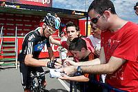 Christopher Froome with the fans before the stage of La Vuelta 2012 between Lleida-Lerida and Collado de la Gallina (Andorra).August 25,2012. (ALTERPHOTOS/Paola Otero) /NortePhoto.com<br /> <br /> **CREDITO*OBLIGATORIO** <br /> *No*Venta*A*Terceros*<br /> *No*Sale*So*third*<br /> *** No*Se*Permite*Hacer*Archivo**<br /> *No*Sale*So*third*
