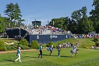 Jhonattan Vegas (VEN), Webb Simpson (USA), and Matt Fitzpatrick (ENG) head down 12 during 1st round of the 100th PGA Championship at Bellerive Country Cllub, St. Louis, Missouri. 8/9/2018.<br /> Picture: Golffile | Ken Murray<br /> <br /> All photo usage must carry mandatory copyright credit (© Golffile | Ken Murray)