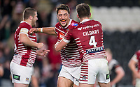 Picture by Allan McKenzie/SWpix.com - 08/09/2017 - Rugby League - Betfred Super League - The Super 8's - Hull FC v Wigan Warriors - KC Stadium, Kingston upon Hull, England - WIgan's Anthony Gelling celebrates the game-winning try against Hull FC.