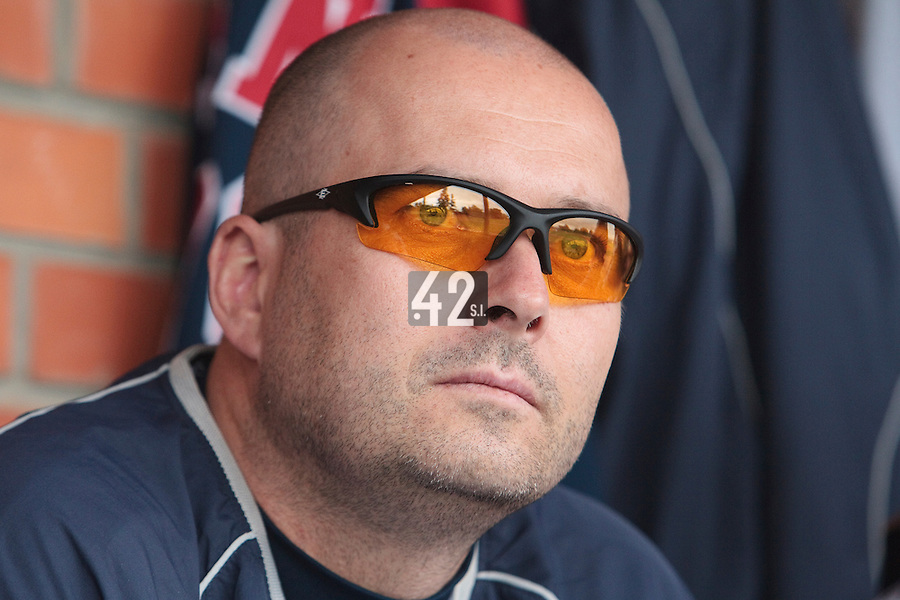 03 June 2010: Robin Roy of Rouen is seen in the dugout during the 2010 Baseball European Cup match won  8-4 by C.B. Sant Boi over the Rouen Huskies, at the Kravi Hora ballpark, in Brno, Czech Republic.