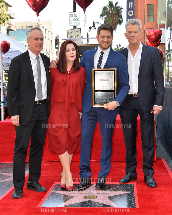 LOS ANGELES, CA. November 16, 2018: Michael Buble, Tom Corson, Priscilla Presley &amp; David Foster at the Hollywood Walk of Fame Star Ceremony honoring singer Michael Bubl&eacute;.<br /> Pictures: Paul Smith/Featureflash