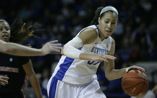 Sophomore center Samantha Drake dribbles the ball during the second half of UK Women's Basketball game vs. Northeastern University at Memorial Coliseum in Lexington, Ky., on Thursday, Nov. 17, 2011. Photo by Tessa Lighty | Staff