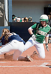 March 7, 2012:   Sacramento State Hornets Devin Caldwell slides safely home on a pass ball as Nevada Wolf Pack pitcher Bailey Brewer covers home during their NCAA softball game played at Christina M. Hixson Softball Park on Wednesday in Reno, Nevada.