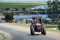 ZAMBIA Barotseland Mongu, Mulamba harbour at river Zambezi flood plain, Mahindra tractor, farmers doing paddy farming in the flood plains / SAMBIA Barotseland , Stadt Mongu , Hafen Mulamba in der Flutebene des Zambezi Fluss