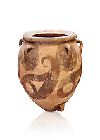 Minoan cly polychrome decorated storage pithos, Protopalatial period, Phaistos 1800-1650 BC; Heraklion Archaeological  Museum, white background..<br /> <br /> The quality of Minoan pithoi of this period suggest that they were produced by specialised potters with considerable skill in the manufacture of large clay conatiners. They were used for the staorage of agricultural products and the number and size of the pithoi found during this Portopalatial period indicate increased production of farmers.