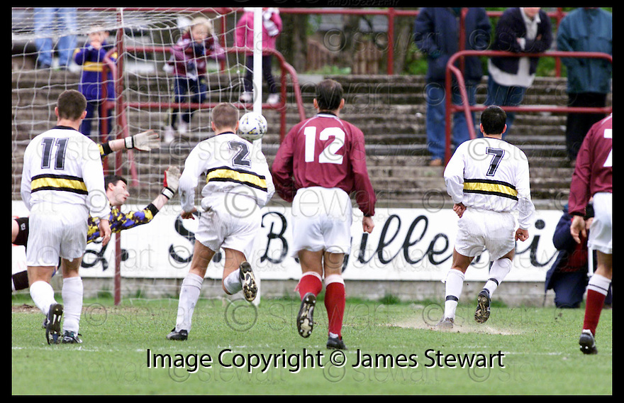 24th April 99                       Copyright Pic : James Stewart .Ref :                           .File Name : stewart03-stenhousemuir v dumbarton                        .MARTIN MOONEY (7) SCORES DUMBARTON'S SECOND GOAL FROM THE PENALTY SPOT......Payments to :-.James Stewart Photo Agency, Stewart House, Stewart Road, Falkirk. FK2 7AS      Vat Reg No. 607 6932 25.Office : 01324 630007        Mobile : 0421 416997.E-mail : JSpics@aol.com.If you require further information then contact Jim Stewart on any of the numbers above.........