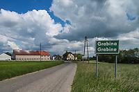 Bilingual Polish - German sign for village of Grabine - Grabina, Prudnik County, Opole Voivodship, Silesia, Poland
