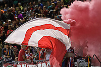 Portland, Oregon - Saturday July 9, 2016: Thorns Supporters during a regular season National Women's Soccer League (NWSL) match at Providence Park.