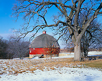 Johnson Sauk Trail State Park, IL: Winter trees frame the view of Ryan's round barn (1910) in Henry County