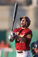 Garret Stubbs #51 of the Southern California Trojans bats against the UC Irvine Anteaters at Dedeaux Field on April 29, 2014 in Los Angeles, California. Stanford defeated Southern California, 6-2. (Larry Goren/Four Seam Images)
