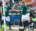 Hib's Fraser Fyvie (centre) is congratulated by Lewis Stevenson and Sam Stanton after he scores their goal.