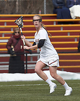 Boston College midfielder Sarah Mannelly (6) looks to pass..University of Maryland (black) defeated Boston College (white), 13-5, on the Newton Campus Lacrosse Field at Boston College, on March 16, 2013.