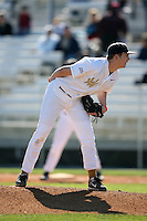 February 21, 2009:  Pitcher Justin Ellis (21) of West Virginia University during the Big East-Big Ten Challenge at Jack Russell Stadium in Clearwater, FL.  Photo by:  Mike Janes/Four Seam Images