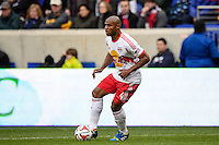Jamison Olave (4) of the New York Red Bulls. The New York Red Bulls and Chivas USA played to a 1-1 tie during a Major League Soccer (MLS) match at Red Bull Arena in Harrison, NJ, on March 30, 2014.