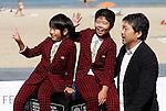 Japanese director Hirokazu Kore-Eda (R) poses with actors Oshiro Maeda (C) and his brother Koki Maeda (L) after the screening of their film 'Kiseki' (I Wish) during the 59th San Sebastian Donostia International Film Festival - Zinemaldia.September 20,2011.(ALTERPHOTOS/ALFAQUI/Acero)