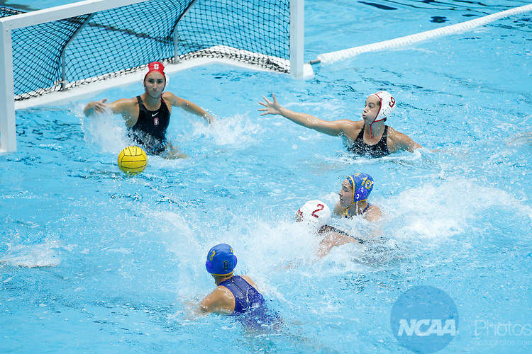 INDIANAPOLIS, IN - MAY 14: Maggie Steffens (9) and Gabby Stone (1) of Stanford University defend during the Division I Women's Water Polo Championship against UCLA held at the IU Natatorium-IUPUI Campus on May 14, 2017 in Indianapolis, Indiana. (Photo by Joe Robbins/NCAA Photos/NCAA Photos via Getty Images)