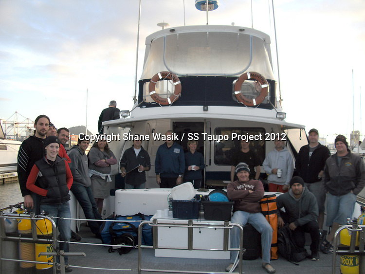 The SS Taupo Survey team on board Mantra prior to heading out to sea. (Photo by T.Kuiumdjian)