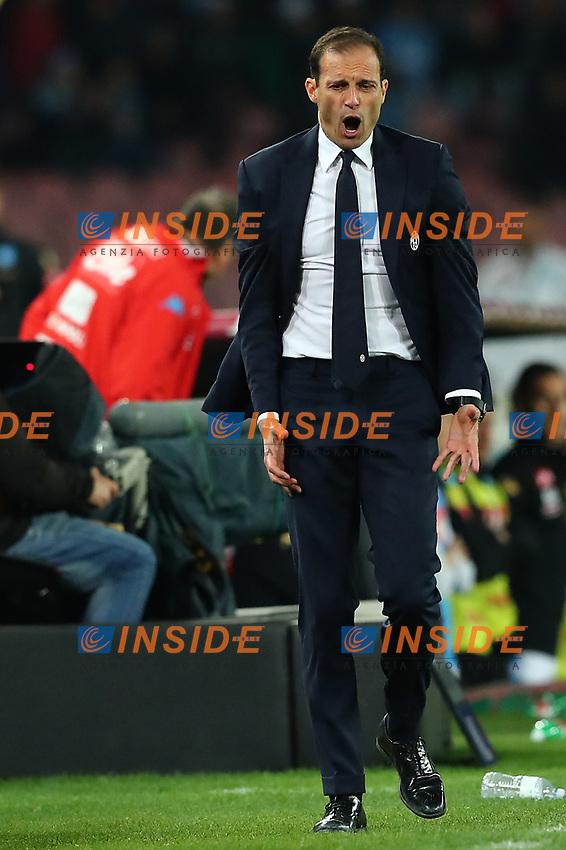 Esultanza di Massimiliano Allegri Juventus celebration    <br /> Napoli 05-04-2017 Stadio San Paolo<br /> Football Calcio Coppa Italia 2016/2017 Semifinale Ritorno. <br /> Napoli - Juventus<br /> Foto Cesare Purini / Insidefoto