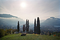 Veduta verso Lecco e il Lago di Como, salendo sulla Grigna --- View of Lecco and and Lake Como, climbing on the Grigna