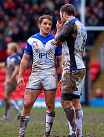 Olly Barkley has a few words with Matt Banahan during a break in play. Guinness Premiership match between Saracens and Bath on February 28, 2010 at Vicarage Road in Watford, England. [Mandatory Credit: Patrick Khachfe/Onside Images]