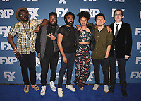 "PASADENA, CA - JANUARY 5:  Cast of FX's ""Atlanta"" (Executive Producer Stephen Glover, Brian Tyree Henry, Donald Glover, Zazie  Beetz, Co-Executive Producer/Director Hiro Murai and Executive Producer Paul Simms) at the 2018 FX Networks Winter TCA Star Walk at The Langham Huntington Hotel and Spa on January 5, 2018 in Pasadena, California. (Photo by Scott Kirkland/FX/PictureGroup)"