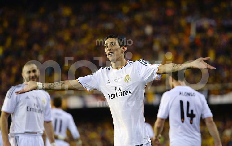FUSSBALL  INTERNATIONAL Copa del Rey FINALE  2013/2014    FC Barcelona - Real Madrid            16.04.2014 JUBEL Real Madrid; Torschuetze zum 0-1 Angel Di Maria
