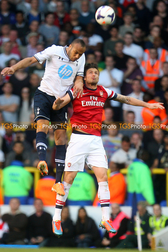 Younes Kaboul of Tottenham Hotspur and Olivier Giroud of Arsenal - Tottenham Hotspur vs Arsenal, Barclays Premier League Football at the White Hart Lane Stadium - 16/03/14 - MANDATORY CREDIT: Dave Simpson/TGSPHOTO - Self billing applies where appropriate - 0845 094 6026 - contact@tgsphoto.co.uk - NO UNPAID USE