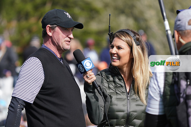 Wayne Gretzky being interviewed in during the third round of the AT&T Pro-Am, Pebble Beach, Monterey, California, USA. 07/02/2020<br /> Picture: Golffile   Phil Inglis<br /> <br /> <br /> All photo usage must carry mandatory copyright credit (© Golffile   Phil Inglis)
