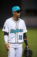 Salt River Rafters center fielder Victor Victor Mesa (10), of the Miami Marlins organization, jogs off the field between innings of an Arizona Fall League game against the Naranjeros de Hermosillo on September 24, 2019 at Salt River Fields at Talking Stick in Phoenix, Arizona. Salt River defeated Hermosillo 4-1. The Naranjeros, of the Mexican Pacific League, played in Scottsdale as part of the Mexican baseball Fiesta. (Zachary Lucy/Four Seam Images)