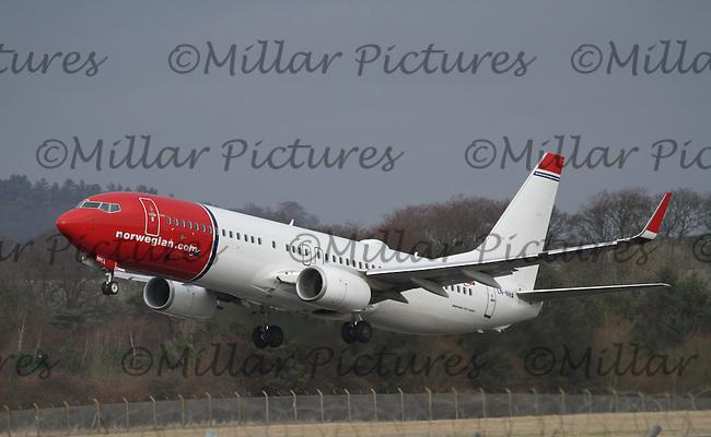 A Norwegian Boeing 737-8JP Registration LN-NHA taking off for Oslo Airport Gardermoen at Edinburgh Airport on 16.2.16.
