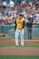 Salt Lake Bees starting pitcher Jose Suarez (18) in action against the New Orleans Baby Cakes at Smith's Ballpark on June 11, 2018 in Salt Lake City, Utah. New Orleans defeated Salt Lake 6-5.  (Stephen Smith/Four Seam Images)