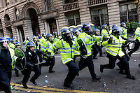 Police charge domonstrators as thousands of protestors descended on the City of London ahead of the G20 summit of world leaders to express anger at the economic crisis, which many blame on the excesses of capitalism.