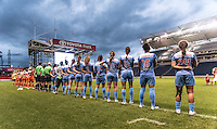 Bridgeview, IL - Saturday July 23, 2016:  Chicago Red Stars and Houston Dash starting XI during a regular season National Women's Soccer League (NWSL) match between the Chicago Red Stars and the Houston Dash at Toyota Park.