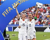 20190707 - LYON , FRANCE : American Megan Rapinoe pictured receiving the golden boot as top scorer with teammate Alex Morgen who received the Silver boot during the female soccer game between The United States of America – USA-  and the Netherlands – Oranje Leeuwinnen -, the final  of the FIFA Women's  World Championship in France 2019, Sunday 7 th July 2019 at the Stade de Lyon  Stadium in Lyon  , France .  PHOTO SPORTPIX.BE | DAVID CATRY