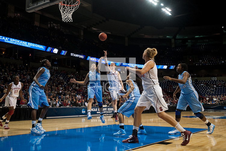SPOKANE, WA - MARCH 26, 2011: Toni Kokenis of Stanford Women's Basketball vs University of North Carolina, NCAA West Regionals on March 26, 2011.