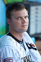 Charlotte Knights starting pitcher Spencer Adams (18) during the game against the Toledo Mud Hens at BB&T BallPark on June 22, 2018 in Charlotte, North Carolina. The Mud Hens defeated the Knights 4-0.  (Brian Westerholt/Four Seam Images)