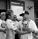 Taj Burrows (AUS) getting congaratulated by Mick Fanning (AUS) after winning the Billabong Pipeline Marsters on the Northshore of Oahu in Hawaii.