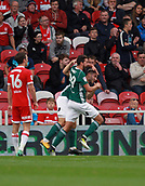 30th September 2017, Riverside Stadium, Middlesbrough, England; EFL Championship football, Middlesbrough versus Brentford; Yoann Barbet of Brentford runs to celebrate with Neal Maupay after putting Brentford 0-1 ahead