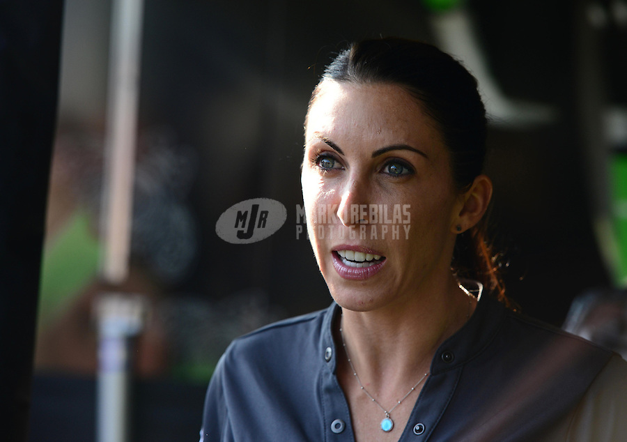 Sept. 29, 2012; Madison, IL, USA: NHRA funny car driver Alexis DeJoria during qualifying for the Midwest Nationals at Gateway Motorsports Park. Mandatory Credit: Mark J. Rebilas-