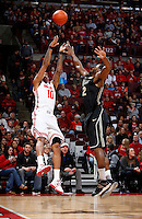 Ohio State Buckeyes forward LaQuinton Ross (10) shoots from three-point range during the first half of the NCAA men's basketball game between the Ohio State Buckeyes and the Purdue Boilermakers at Value City Arena in Columbus, Ohio, on Saturday, Feb. 8, 2014. At the half, the Buckeyes led 29-22.  (Columbus Dispatch/Sam Greene)