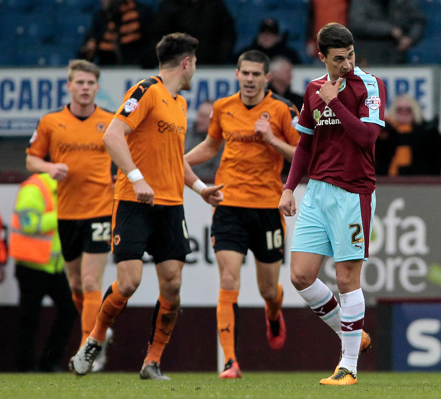 Burnley's Matthew Lowton shows his dejection after Wolverhampton Wanderers equalise<br /> <br /> Photographer David Shipman/CameraSport<br /> <br /> Football - The Football League Sky Bet Championship - Burnley v Wolverhampton Wanderers - Saturday 19th March 2016 - Turf Moor - Burnley<br /> <br /> &copy; CameraSport - 43 Linden Ave. Countesthorpe. Leicester. England. LE8 5PG - Tel: +44 (0) 116 277 4147 - admin@camerasport.com - www.camerasport.com
